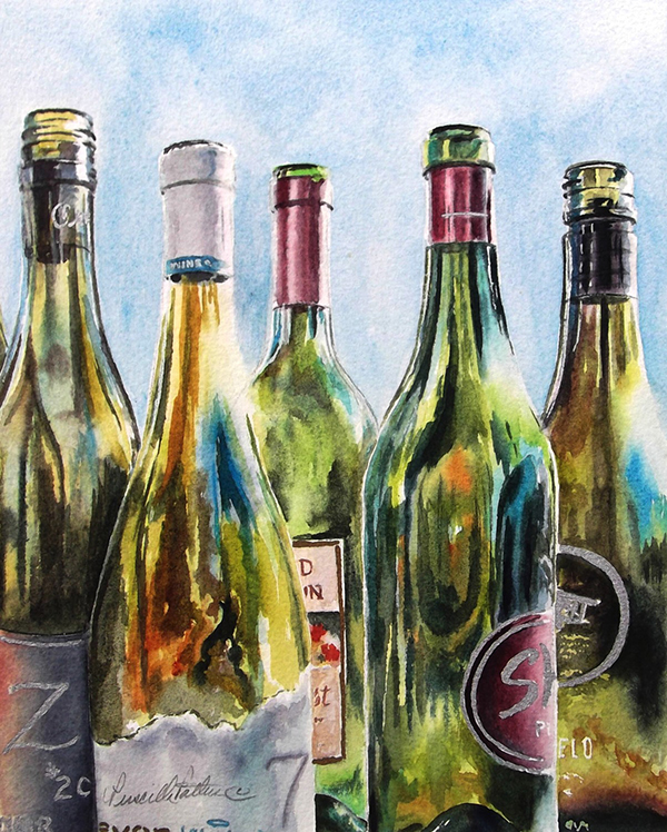 """A Good Time"" by Priscilla Patterson - empty bottles of wine"