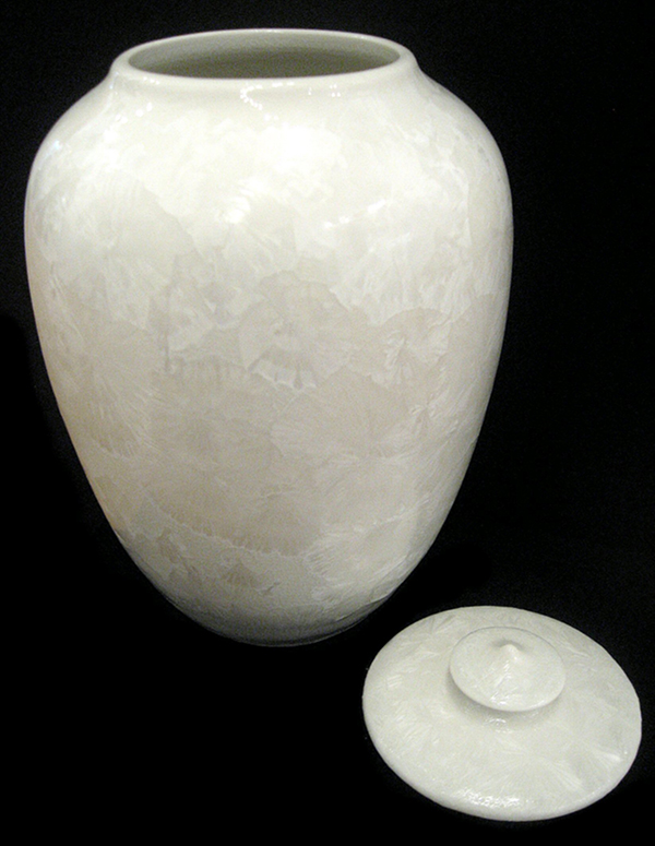 """Arctic White Crystalline Vase"" with cover rid by Gregory Felando"