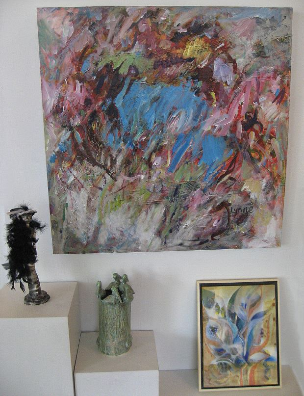 From left, work of Nancy Lawrrence, Lynne Armstrong, Carol Janda, and Ryoko Toyama
