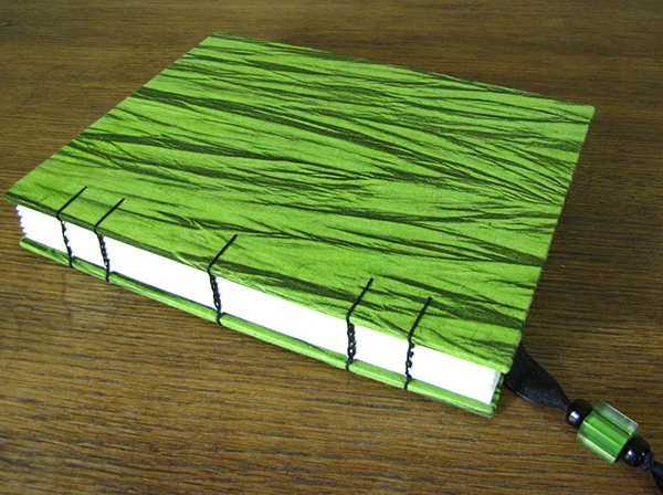 Handmade Green Journal with Black Coptic Bound by Jean Wyatt