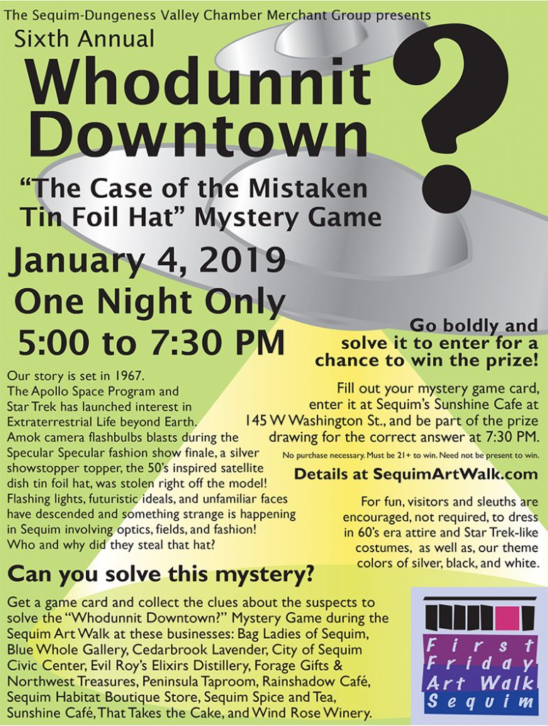 "Sixth Annual Whodunnit Downtown? ""The Case of the Mistaken Tin Foil Hat"" Mystery Game poster."