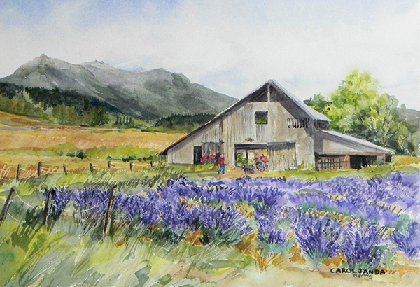 """Lavender Barn with an Olympic Mountain View"" by Carol Janda"