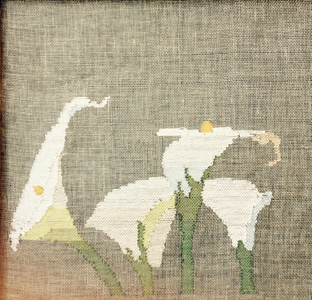 """Calla Lillys - transparency weaving"" by Lynn Baritelle"
