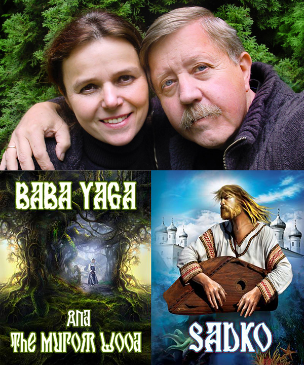 Marina Shipova and Noel Price with the books of Sadko Baba Yaga and the Murom Wood