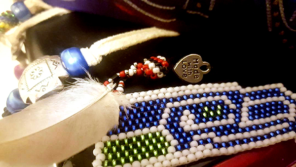 Michelle Fast Horse Beadwork at Tracy Wealth Management
