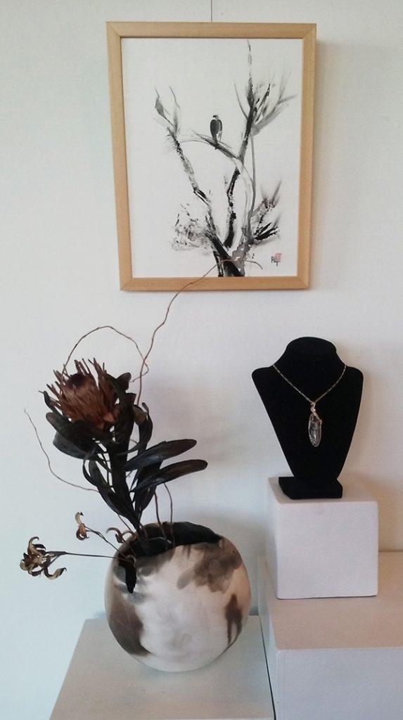 Raku by Nancy Lawrence, sumi-e by Ryoko Toyama, necklace by Kathy Schreiner