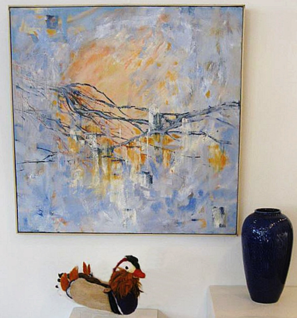 """Spring weather"" by Carol Janda, ""Blue vase"" by Gregory Felando, ""Mandarin duck"" by Terri Biondolino"