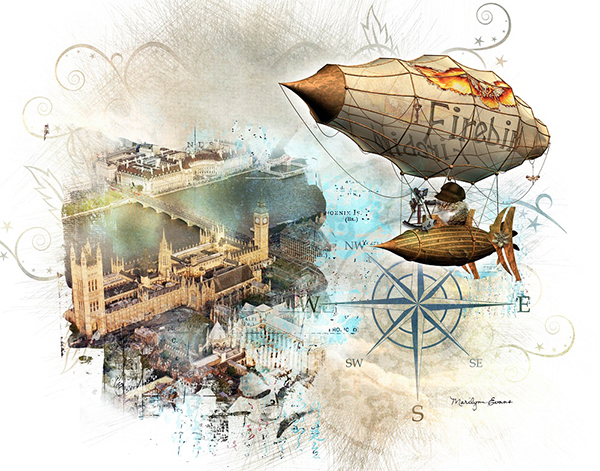 """Steampunk Cat Over London"" by Marilynn Evans"