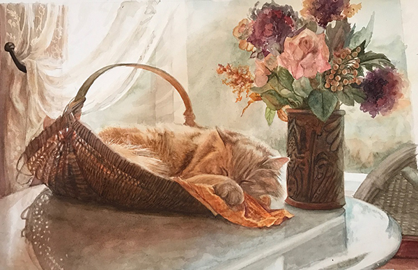 """Still Life with Basket and Flowers"" by Nancy Delgado"