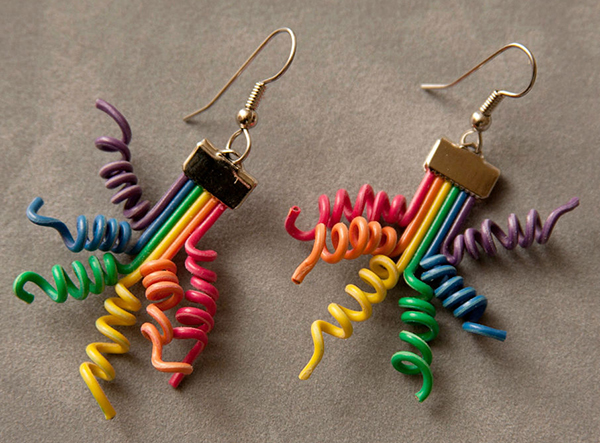 Ribbon Cable Earrings by Transister