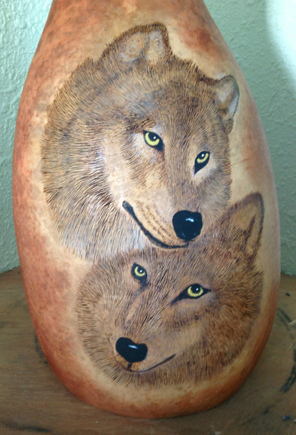 Twin wolf thunder drum by Debbie Cain