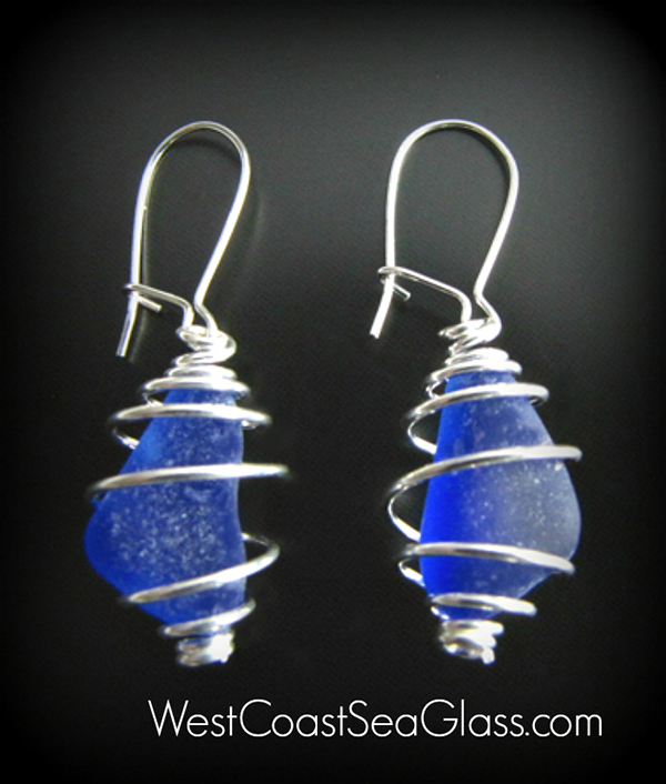 Sea glass earrings of historic cobalt blue in sterling silver from West Coast Sea Glass