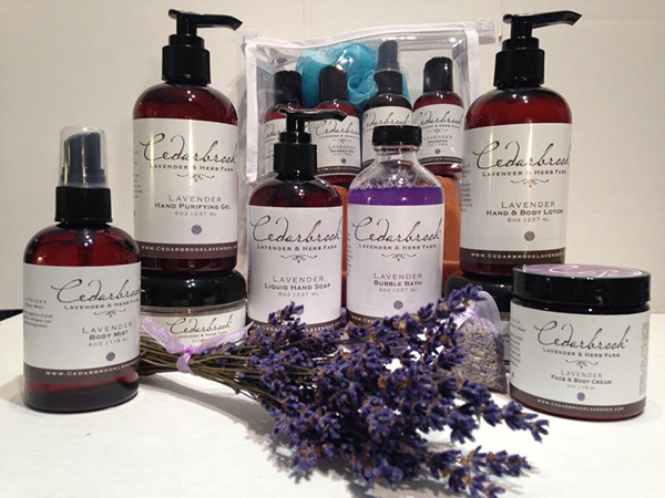 Cedarbrook Lavender goods in amber