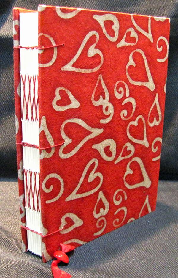 handmade red hearts journal by Jean Wyatt
