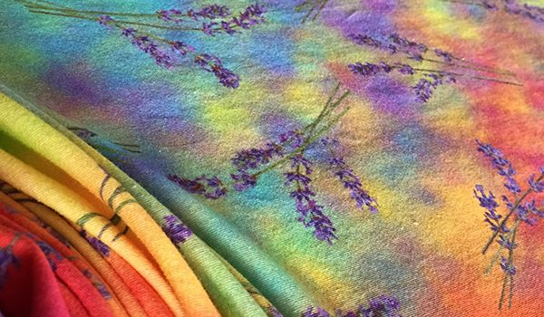 """lavender currents spectrum scarves"" by Renne Emiko Brock"