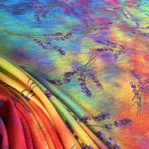 """lavender currents spectrum scarves"" bye Renne Emiko Brock"