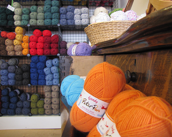 orange yarn from The Local Yarn Shop