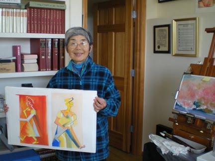 Ryoko Toyama with fellow artist studies