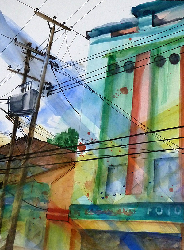 watercolor painting by Carol Wilhelm of power and phone lines