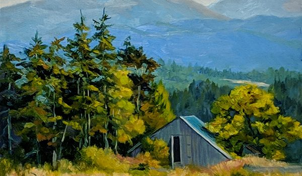 Painting by Catherine Mix of mountains and a Sequim barn