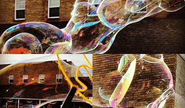 """Bubbles in June"" by Renne Emiko Brock. Huge bubbles in downtown Sequim."