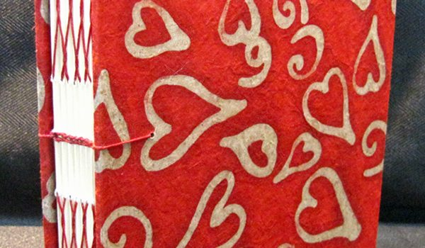 handmade red hearts journal by Jean Wyatt